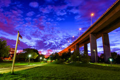 Vasco da gama park at night. Under the bridge Stock Photo