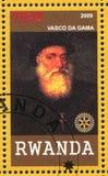 Vasco da Gama printed by Rwanda. RWANDA - CIRCA 2009: stamp printed by Rwanda, shows Vasco da Gama, circa 2009 stock images