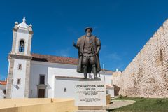 Vasco da Gama statue. Sines, Portugal. Statue of the Portuguese explorer Vasco da Gama in front of the parish church in Sines. Alentejo, Portugal royalty free stock images