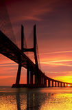 Vasco da Gama at Sunrise. The biggest bridge in Portugal connect Lisbon with the south Stock Image