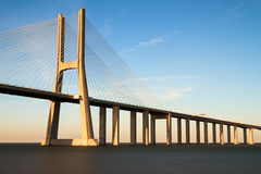 Vasco da gama sunset bridge Royalty Free Stock Images