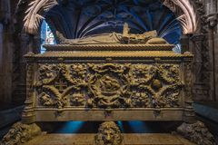 Vasco da Gama tomb. In Hieronymites Monastery in Lisbon, Portugal royalty free stock photography