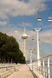 Vasco da Gama tower. The way to Vasco da Gama tower royalty free stock images