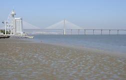 The Vasco da Gama Tower  and  Bridge Royalty Free Stock Image