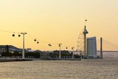 Vasco da Gama tower, bridge and cable car at Lisbon Stock Images