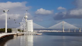 Vasco da Gama Tower and Bridge, the Myriad Hotel stock video footage
