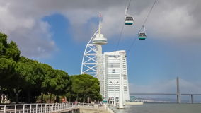 Vasco da Gama Tower and Myriad Hotel. Park of Nations. Lisbon, Portugal - February 01, 2015: Vasco da Gama Tower and Bridge, the Myriad Hotel and aerial tramway stock footage