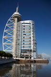 Vasco da Gama tower. Site of the Expo 98 in Lisbon with the elevators Stock Images