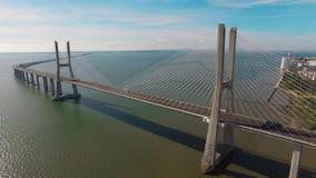 Vasco de Gama bridge aerial view Lisbon Portugal. Vasco de Gama bridge aerial view Lisbon stock video