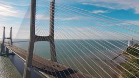 Vasco de Gama bridge aerial view Lisbon Portugal. Vasco de Gama bridge aerial view Lisbon stock footage