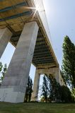 Vasco de Gama Bridge. The height of the Vasco de Gama bridge stock photos