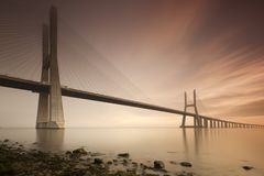 Vasco de Gama bridge. Lisbon, Portugal Stock Photo