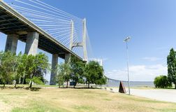 Vasco de Gama Bridge. View of the Vasco de Gama bridge royalty free stock image
