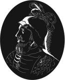Vasco Nunez de Balboa Conquistador Woodcut stock illustration