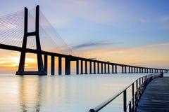 Vascoda Gama-Brücke stockbild