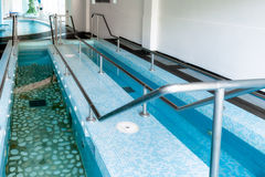 Vascular Therapy Pools. Basins for vascular therapy which consists of walking with legs immersed alternately in hot and cold water; the effect is that of a Stock Photos