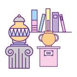 Vase à antiquités sur le musée d'exposition de piédestal et de livres illustration libre de droits