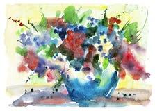 Vase à aquarelle de fleurs Photos libres de droits