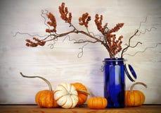 Vase à bleu de potirons de chute Photo libre de droits
