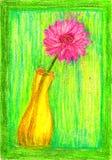 Vase à crayon de couleur avec la fleur Photo libre de droits