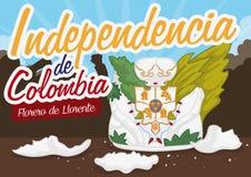 Vase à fleur légendaire de Llorentes cassé pour le Jour de la Déclaration d'Indépendance colombien, illustration de vecteur Photo stock
