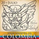 Vase à fleur tiré par la main de Llorentes cassé pour le Jour de la Déclaration d'Indépendance de la Colombie, illustration de ve Images libres de droits