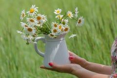 Vase à prise de femme avec des marguerites image stock