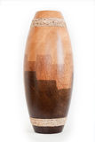 Vase. A wooden vase shot on white background Royalty Free Stock Photography