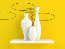 Vase. 3d render of white vases on yellow background Royalty Free Stock Photo