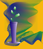 Vase. Vector illustration of vase with plant on color background Stock Photos