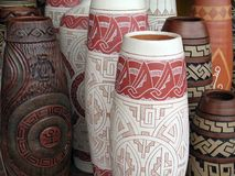 Vase aboriginal. Ceramics vases with aboriginal drawings of the region of the Marajo and Tapajos - North of Brazil Stock Photos