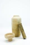 Vase antique à poterie avec le rouleau écrit Photographie stock libre de droits