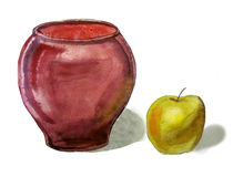 Vase and Apple Stock Images