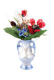 Vase with artificial flowers Royalty Free Stock Images