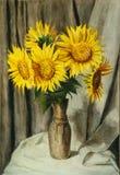 Vase avec des tournesols Photographie stock