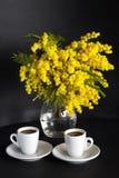 Vase avec la mimosa et deux tasses de café sur un fond noir Images stock