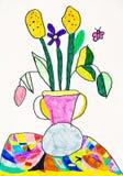 Vase avec le dessin de fleurs Photo libre de droits