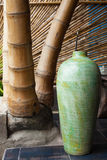 Vase and bamboo. Green vase and Bamboo structure in bamboo house in Bali Royalty Free Stock Photos