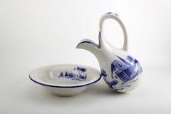 Vase with basin. Vase with bowl on white background Royalty Free Stock Photography