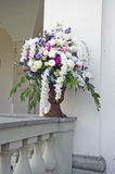 Vase with beautiful flowers on old manor house fence Stock Image