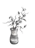 Vase with berries Japanese style sumi-e painting. Stock Photos