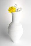 Vase blanc à poterie et fleur jaune sur le fond blanc Images stock