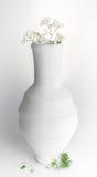 Vase blanc à poterie et petites fleurs blanches sur le fond blanc Photos libres de droits