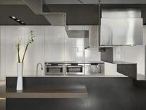 Vase Blumen in der modernen Küche Lizenzfreie Stockbilder