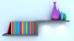 Vase and book decorated on shelf closeup Royalty Free Stock Photo