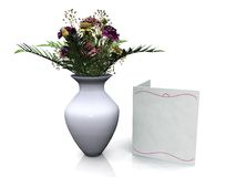 Vase with bouquet of flowers, blank card beside. A vase with a beautiful bouqet of carnation flowers and a blank card beside it. White background Stock Photos