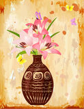 Vase with a bouquet of lilies Stock Photography
