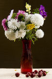 Vase with a bouquet of multicolored aster Stock Photo