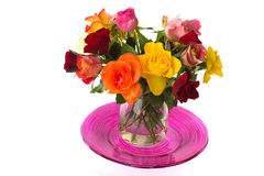 Vase with bouquet roses Royalty Free Stock Photo