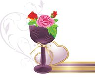 Vase with bouquet of roses and hearts Stock Photo